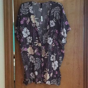 Floral grey, purple and white cover up